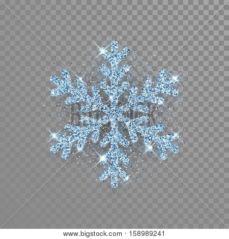 Shine crystal snowflake covered with diamond glitter on transparent background. Christmas decoration with shining sparkling light effect. Vector isolated icon. New Year blue glittering ornament.