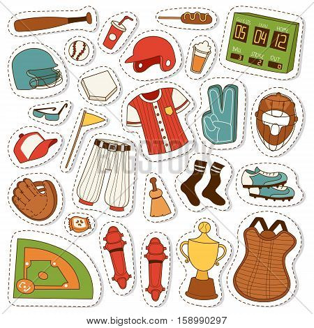 Vector cartoon illustration baseball bat, ball and glove competition, object patches. Cartoon baseball icons game team symbol softball play. Cartoon icons design equipment leather glove.