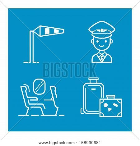 Aviation icons vector set airline graphic illustration. Vector flight airport transportation passenger aircraft design set. Departure air cargo world luggage boarding aircraft.