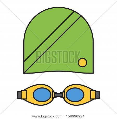 Cloth for swimmer sportswear swim fins protection for eyes and hat vector. Clothing flippers glasses and cap for pool. Swim goggles protective equipment.
