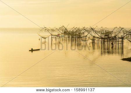 Fishermen thai style fishing trap in Pak Pra Village Net Fishing Thailand Thailand Shrimp Fishing Phatthalung Thailand.