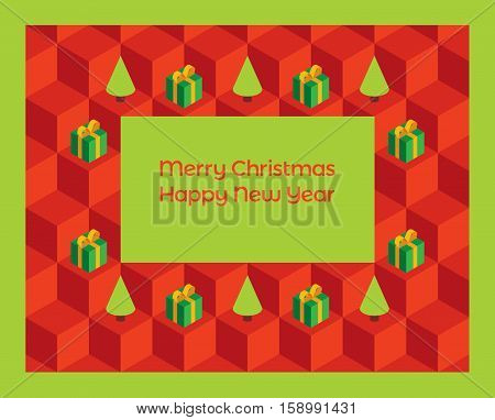 Vector design with isometric cubes gift boxes and Christmas trees. Text