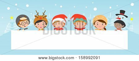 kids peeping behind placard, children and greeting Christmas and New Year card, boy and girl in Christmas costume characters celebrate,happy new year,