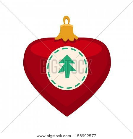 Merry Christmas red heart toy with fur tree icon in roundframe, Christmas balls, vector illustration in flat style