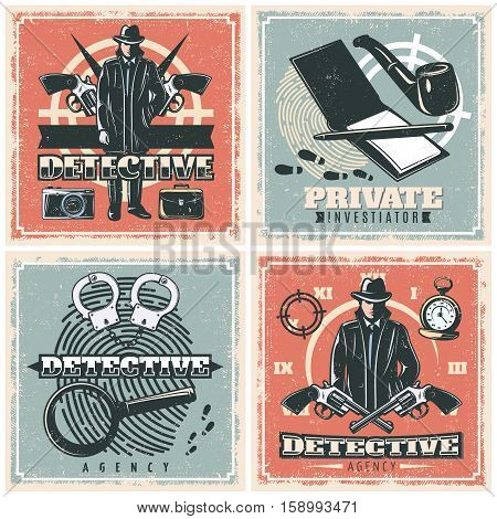 Four detective agency square compositions set in old school style with male character with investigation symbols vector illustration