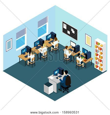 Computer class isometric layout with children at lesson in blue room with grey floor vector illustration