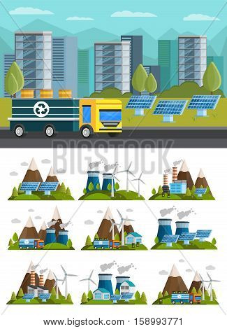 Isolated orthogonal ecology compositions set with traditional and alternative power sources in mountains and urban scenery vector illustration