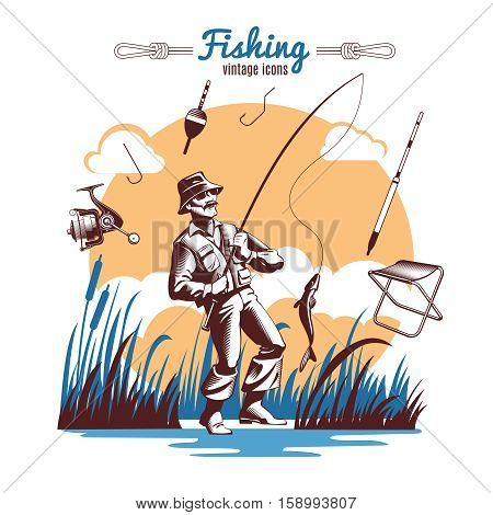 Fishing composition with vintage old style icons of fisher lake reeds fishing gear and title text vector illustration