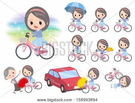 Blue Clothes Headband Girl Ride On City Bicycle