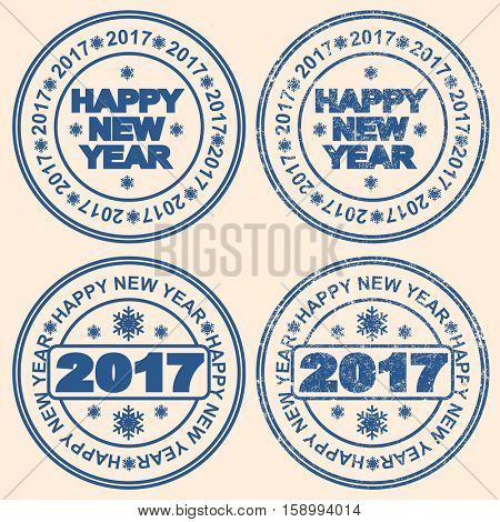 Seal with the words new year. 2017. The inscription Happy New Year.