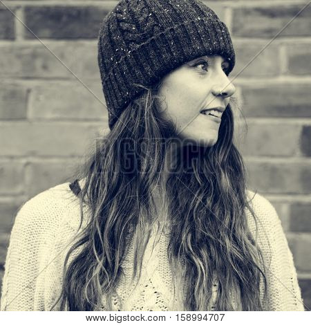 Woman Beanie Hat Hipster Style Brick Wall Smiling Concept