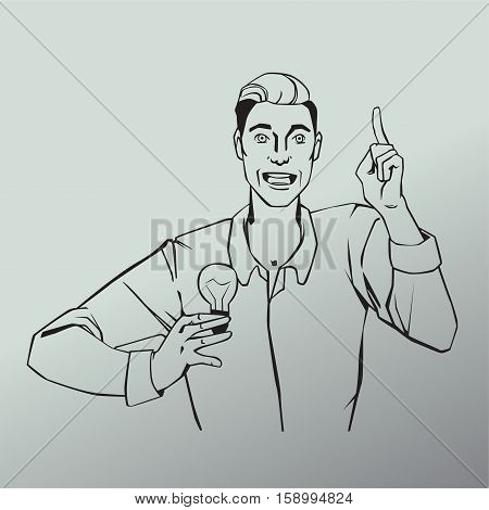 Vector illustration of man with lamp showing finger up and says idea in line art comic style