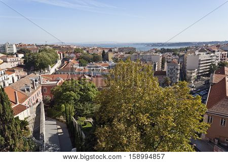 LISBON, PORTUGAL - October 1, 2016: Beautiful birds eye view of the old city of Lisbon towards the Tagus River Portugal