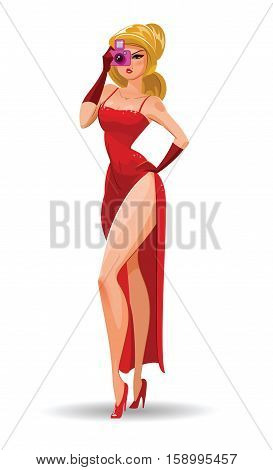 Super Agent. Secret Agent. Elegant Woman Spy In The Evening Red Dress Photographed.
