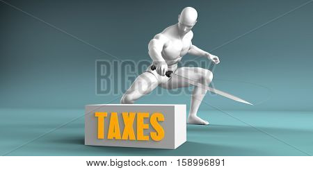 Cutting Taxes and Cut or Reduce Concept 3D Illustration Render