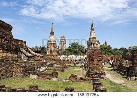 AYUTTHAYA, THAILAND - November 4, 2016: View of Wat Ratchaburana seen from the Wat Mahathat Temple in Ayutthaya Thailand