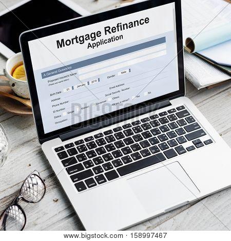 Mortgage Refinance Application Form Concept