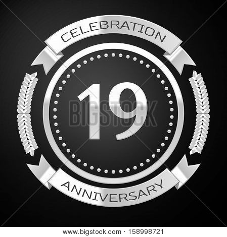 Nineteen years anniversary celebration with silver ring and ribbon on black background. Vector illustration