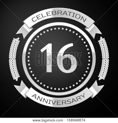 Sixteen years anniversary celebration with silver ring and ribbon on black background. Vector illustration