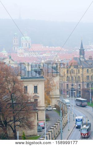 Prague, Czechia - November, 21, 2016: panorama of Old Prague , Czechia