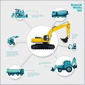 Construction machinery infographic big set of ground works machines vehicles on white background. Catalog page. Heavy equipment for building truck digger bagger excavator transportation master vector. poster