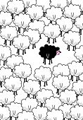 ...black sheep in the middle. Vector art poster