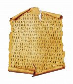 Ancient scroll with the Scandinavian runes isolated on white. Old paper document with hieroglyphic writing. poster