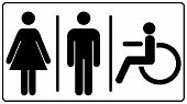 vector illustration of mens and womens disabled restroom sign - printable restroom, toilette signs, invalid icon. Vector symbols for public places, banner isolated on white, black silhouette poster