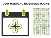Eco Green And Gray Airdrone Calendar Day vector icon with 1000 medical business pictograms. Set style is flat bicolor symbols, eco green and gray colors, white background. poster