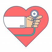 Doctor with a stethoscope exams heart pulse. Medicine and health flat line concept illustration. Cardiologist is holding a phonendoscope and checkin a heartbeat. Medical and health vector element. poster