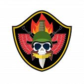 Army logo Skull. Soldiers badge. Military emblem. Wings and weapons. Eagle and guns. Awesome sign for troops. blazon commando poster