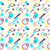 Abstract seamless pattern from geometric form in postmodern Memphis Style on white background for wallpaper or package or for clothes for decoration childish school subject or for creative design poster