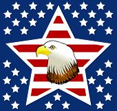 This very unique design was created with a stars and stripes pattern on a blue background. There is an eagle in the center of this very detail graphic. poster