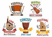 Musical instruments vector isoloated icons for music festival or folk concert. Badges of harmonica accordion, flute, violin, contrabass, music notes clef, ethnic djembe drum, string bandura, lute, zither, ribbons poster