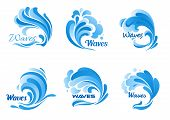 Waves vector isolated icons. Water ocean wave splash, tide water rollers, stormy curling, boiling and seething blue sea waves poster