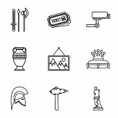 Stay in museum icons set. Outline illustration of 9 stay in museum vector icons for web poster