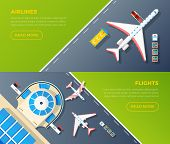 Airport 2 top view banners set design for airlines internet webpage with flights information isolated vector illustration poster