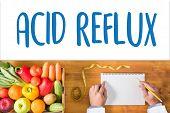 "ACID REFLUX Heartburn and Gastroesophageal Reflux Disease (GERD) reflux acids symptomatic acid reflux Acid Reflux - Printed Diagnosis ""ACID REFLUX"" title on medical document medical concept poster"