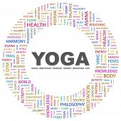 YOGA. Word collage on white background. Vector illustration. Illustration with different association terms. poster