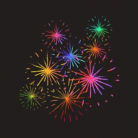 New Year Holiday Fireworks. Festive firework bursting in various shapes sparkling pictograms set on a bright colorful background. Fireworks for your holiday, New Year, 4th July or Birthday design.