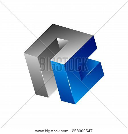 Abstract 3d Square Logo Design, Corner Geometric Shape, Symmetric Symbol, Square Icon, Square Shape