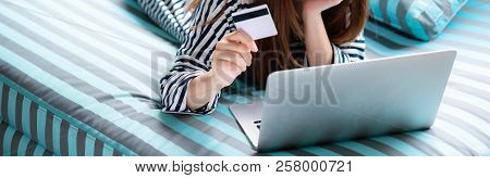 Banner Website Eautiful Of Portrait Young Asian Woman Lying Users Credit Card With Laptop, Content G