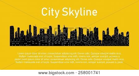 City On A Yellow Background. City Skyline. Place For Your Text. The Silhouette Of The City In A Flat