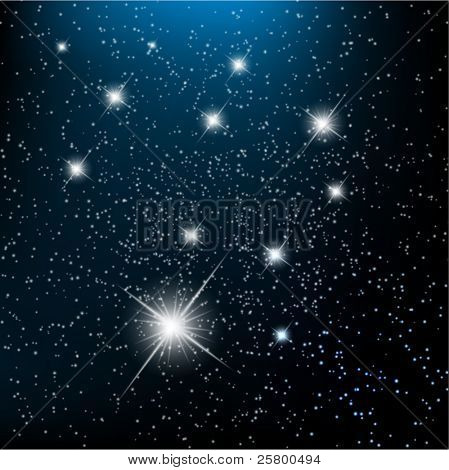 Space background withbright stars in cosmos. EPS10 vector illustration