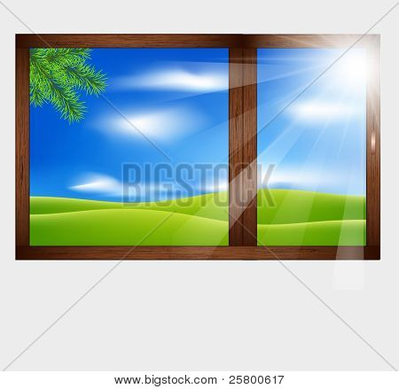 Wooden window with a beautiful landscape view. Summer.