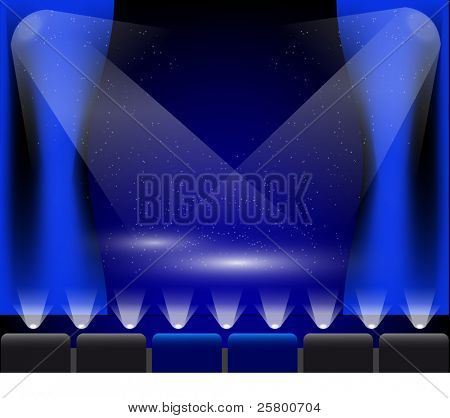 Stage lights in blue.