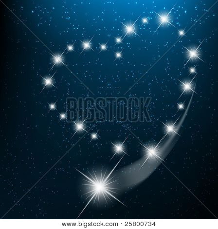 Space background with heart from bright stars in cosmos. EPS10 vector illustration
