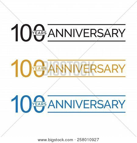 Simple 100th Anniversary Years Logo Vector. Blue Black Gold Color