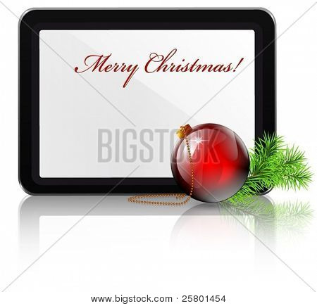 Tablet pc and Christmas ball and tree branch