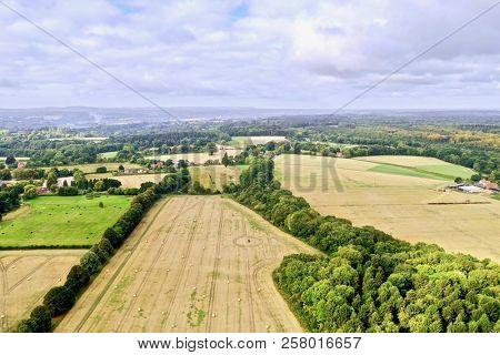 English countryside aerial farm field rural landscape